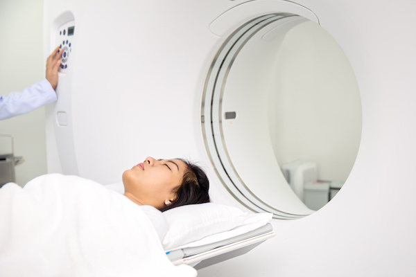 Asian lady sleep on a CT Scan